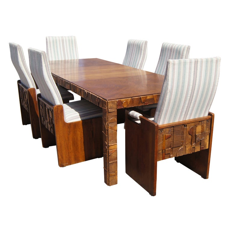 Captivating Brutalist Style Walnut Dining Suite By Lane For Sale