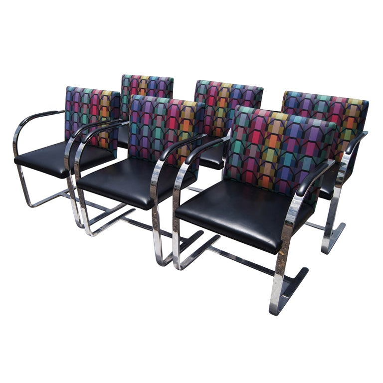 Six Mies Van Der Rohe Style Flat Bar Brno Arm Chairs For Sale