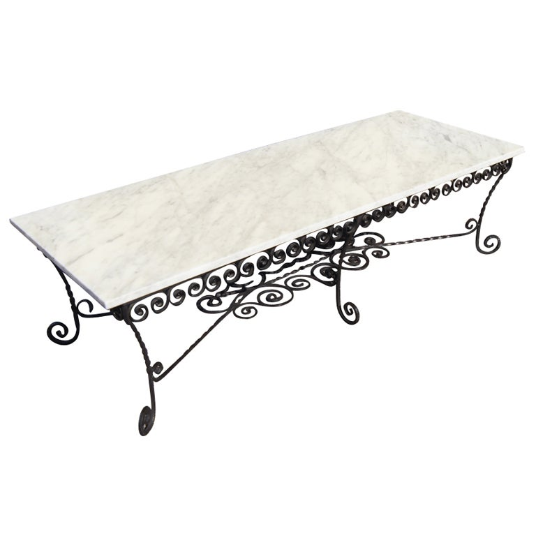 black wrought iron and marble coffee table at 1stdibs