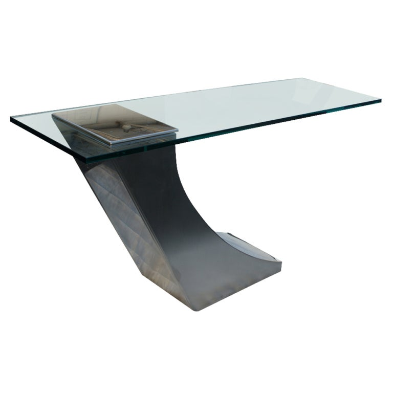 Greg Sheres Italian Stainless Steel And Glass Console