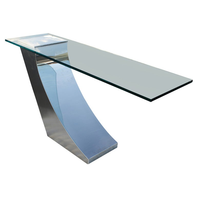 greg sheres italian stainless steel and glass console table