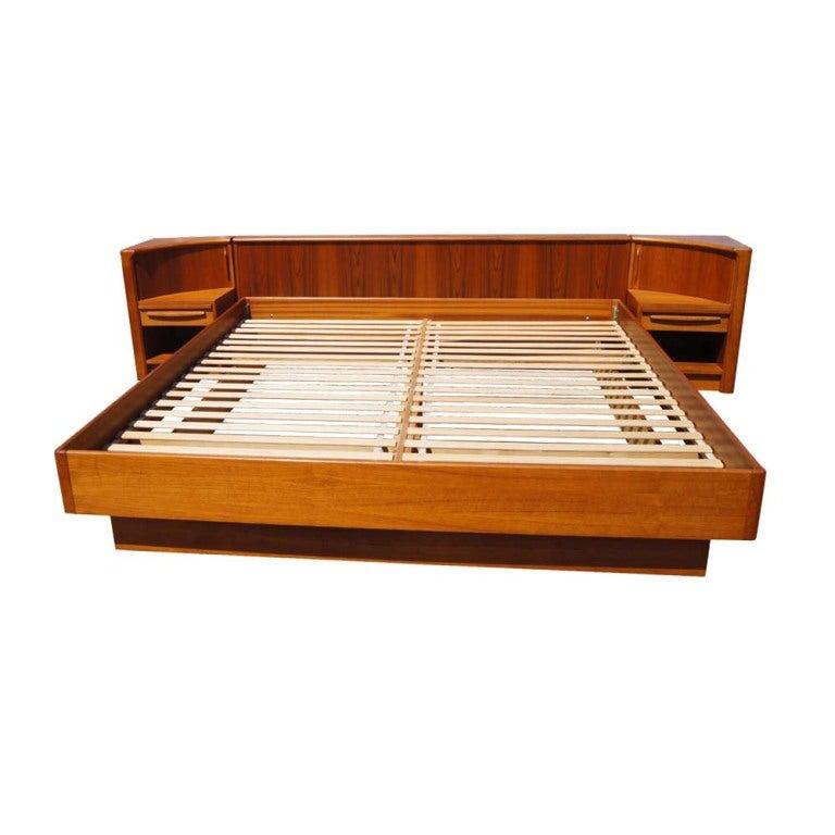 Mid Century Danish Teak Platform Bed And Nightstands 2