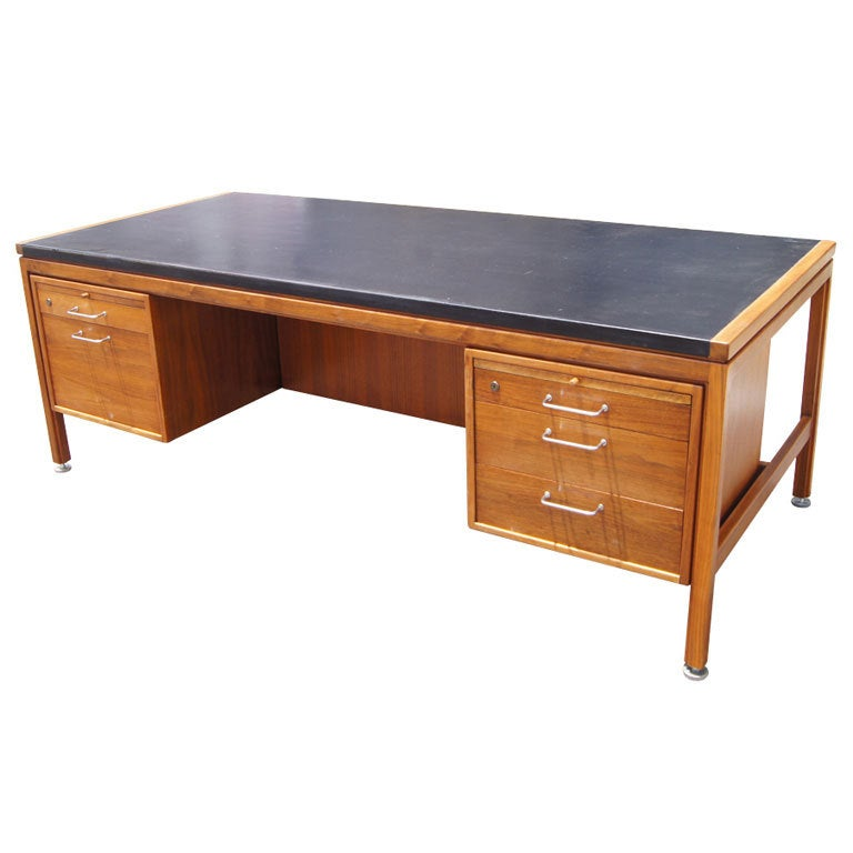Jens Risom Walnut And Leather Executive Desk At 1stdibs