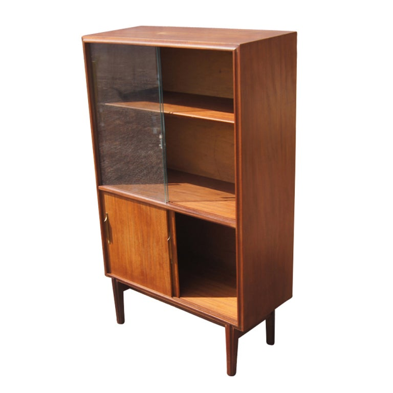 Mid Century Teak China Display Cabinet Bookcase At 1stdibs