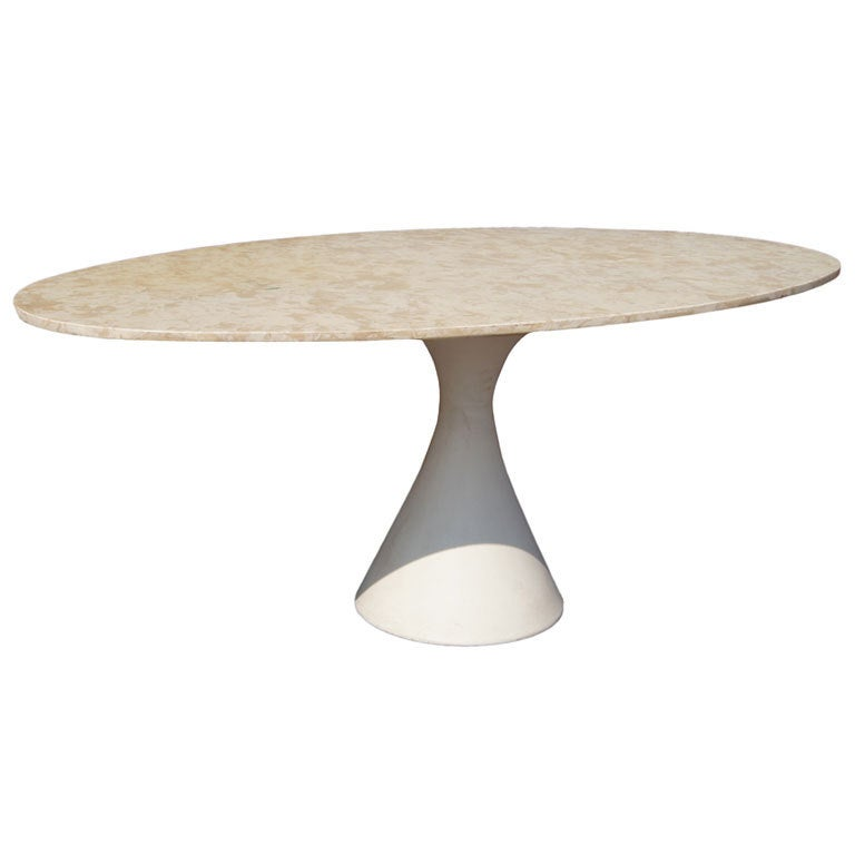 Mid Century Hollen Oval Marble Dining Table At 1stdibs