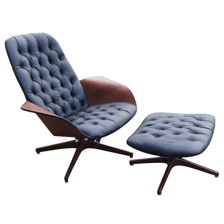George Mulhauser For Plycraft Lounge Chair And Ottoman at 1stdibs