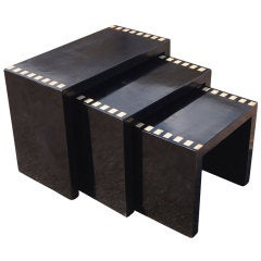 Three Black Lacquer Nesting Tables
