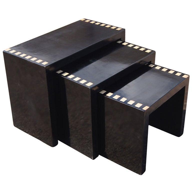 Three Black Lacquer Nesting Tables