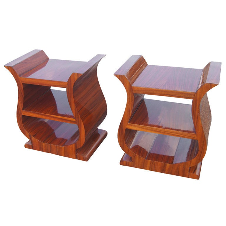 Modern bed side view - Pair Of Art Deco Rosewood Night Stands Side Tables At 1stdibs
