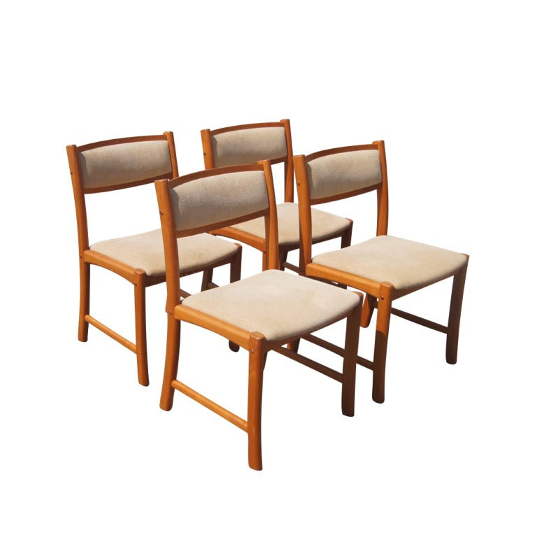 Scandinavian teak dining table and four chairs at 1stdibs - Scandinavian teak dining room furniture design ...
