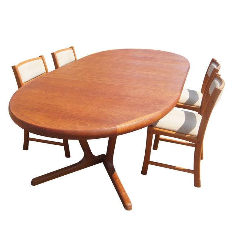 Scandinavian teak dining table and four chairs at 1stdibs for Four chair dining table
