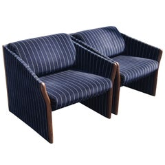 Pair Of Striped Brayton Lounge Chairs
