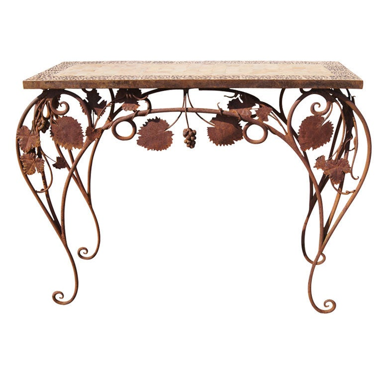 Wrought Iron And Tile Indoor Outdoor Console Table For
