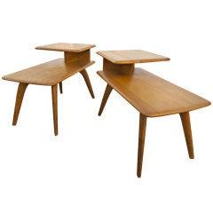 Pair Of Heywood Wakefiekld Two Tier End Tables
