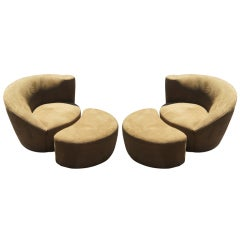 Pair Of Vladimir Kagan Nautilus Lounge Chairs & Ottomans