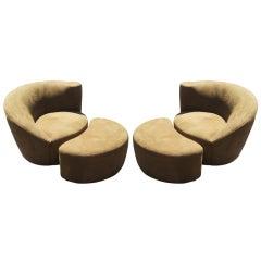 Pair Of Vladimir Kagan Nautilus Lounge Chairs & Ottomans