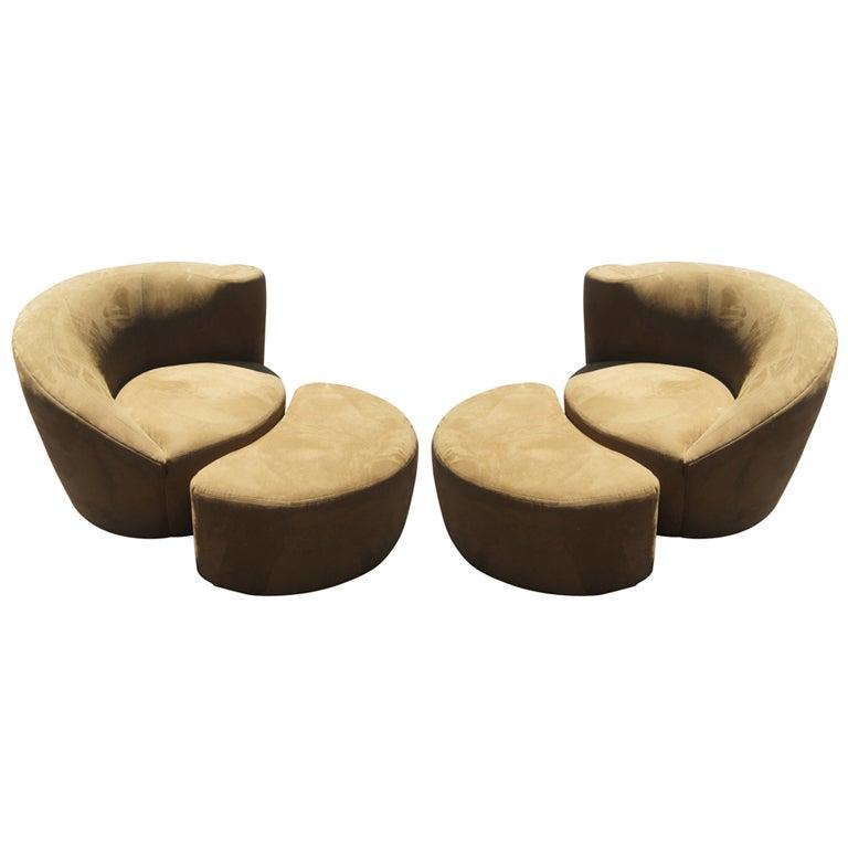 Pair Of Vladimir Kagan Nautilus Lounge Chairs U0026 Ottomans 1