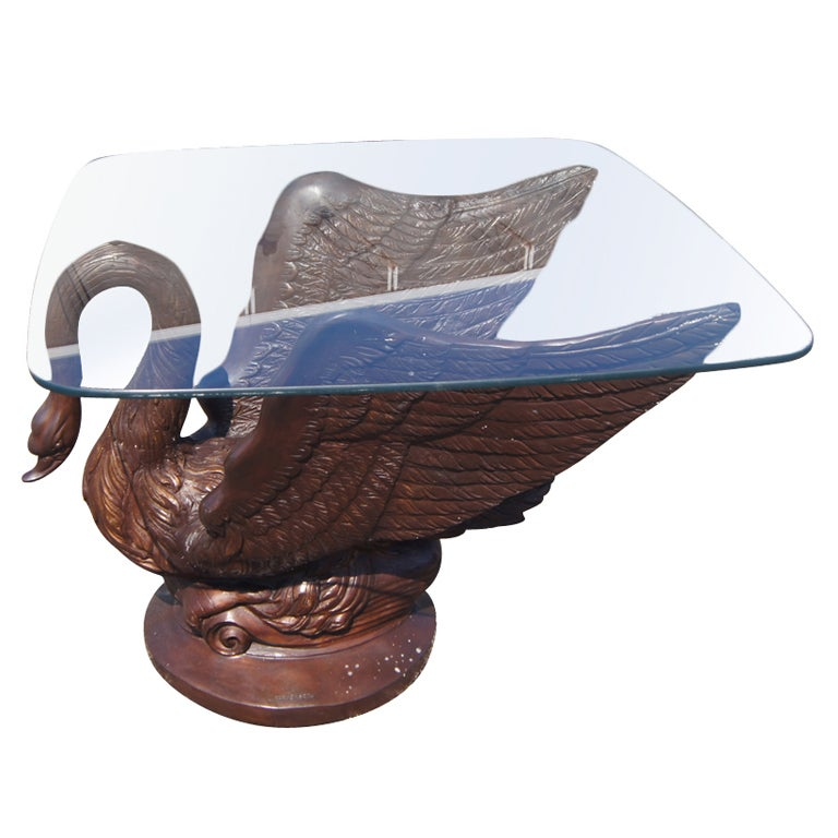 Bronze Swan Dining Table Base For Sale at 1stdibs