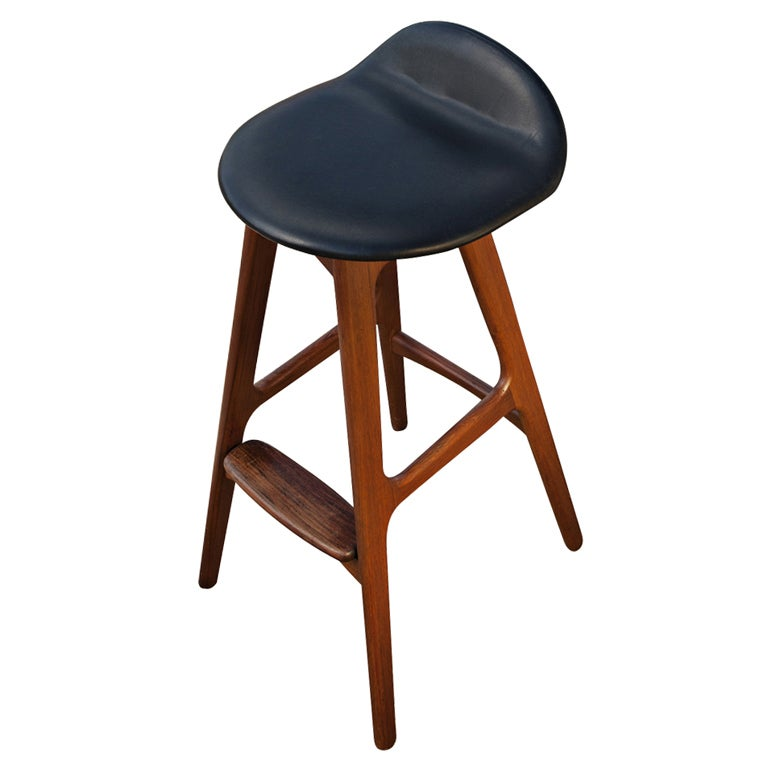 Erik Buch Teak And Rosewood Scandinavian Bar Stool At 1stdibs