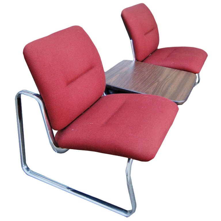 Steelcase Metal and Fabric Tandem Bench with Center Table