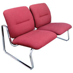 Steelcase Metal and Fabric Tandem Bench