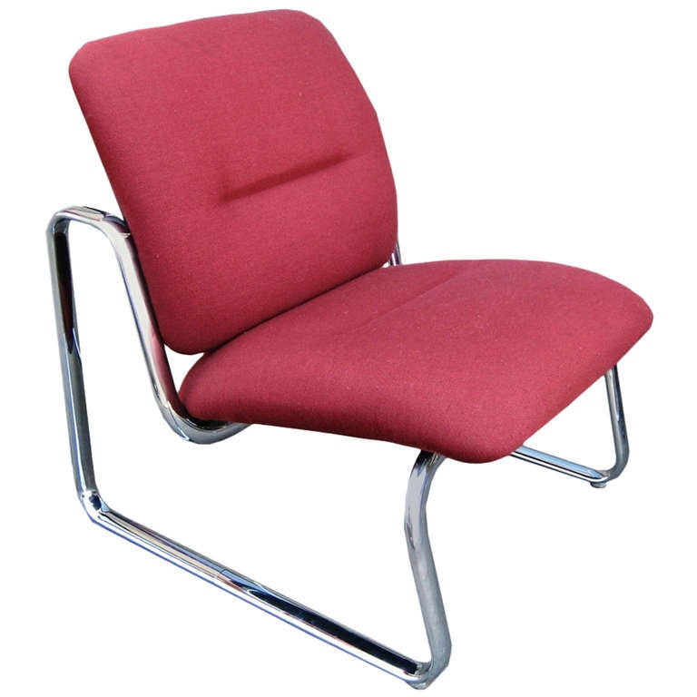 Steelcase Metal and Fabric Red Lounge Chair For Sale at 1stdibs