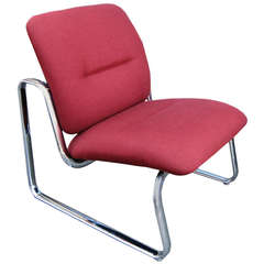 Steelcase Metal and Fabric Red Lounge Chair