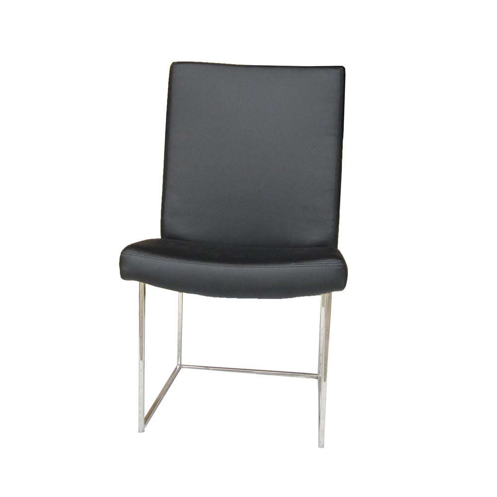 Set Of 12 High Back Leather And Chrome Chairs Designed By Milo Baughman For S