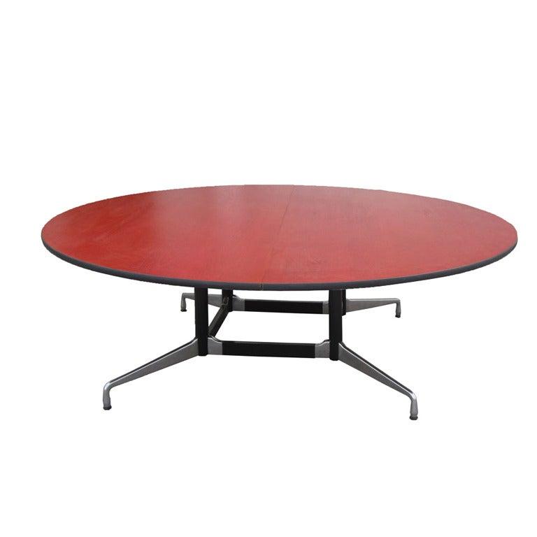 Herman miller eames et 124c round oak conference table at - Eames table herman miller ...