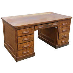 Large Oak Pedestal Desk with Eight Drawers