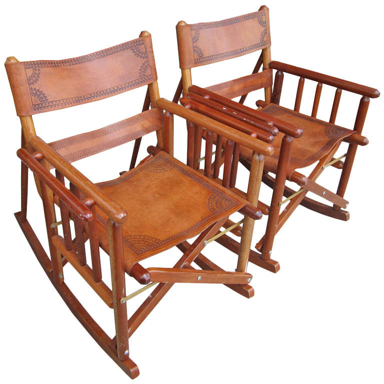 costa rican leather campaign rocking side chairs at 1stdibs