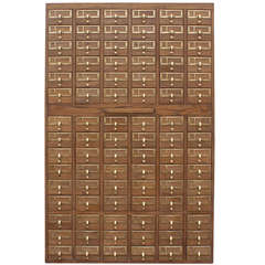 90 Drawer Wooden Card File Cabinet