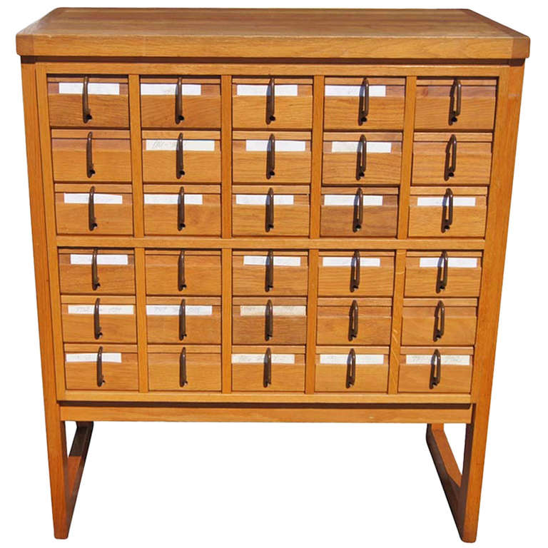 Good Thirty Drawer Oak Library Card Catalog File For Sale