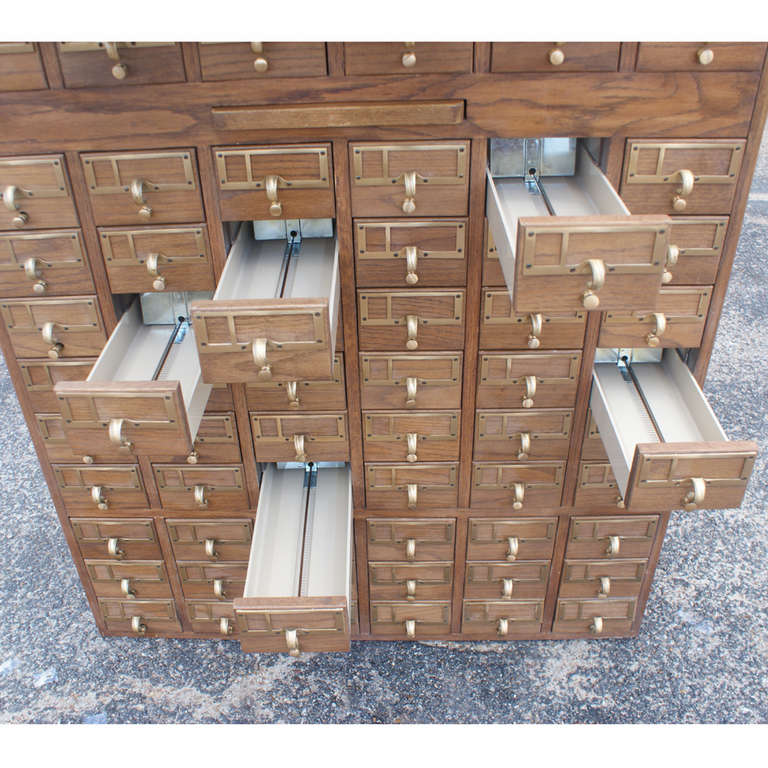 90 Drawer Wooden Card File Cabinet At 1stdibs