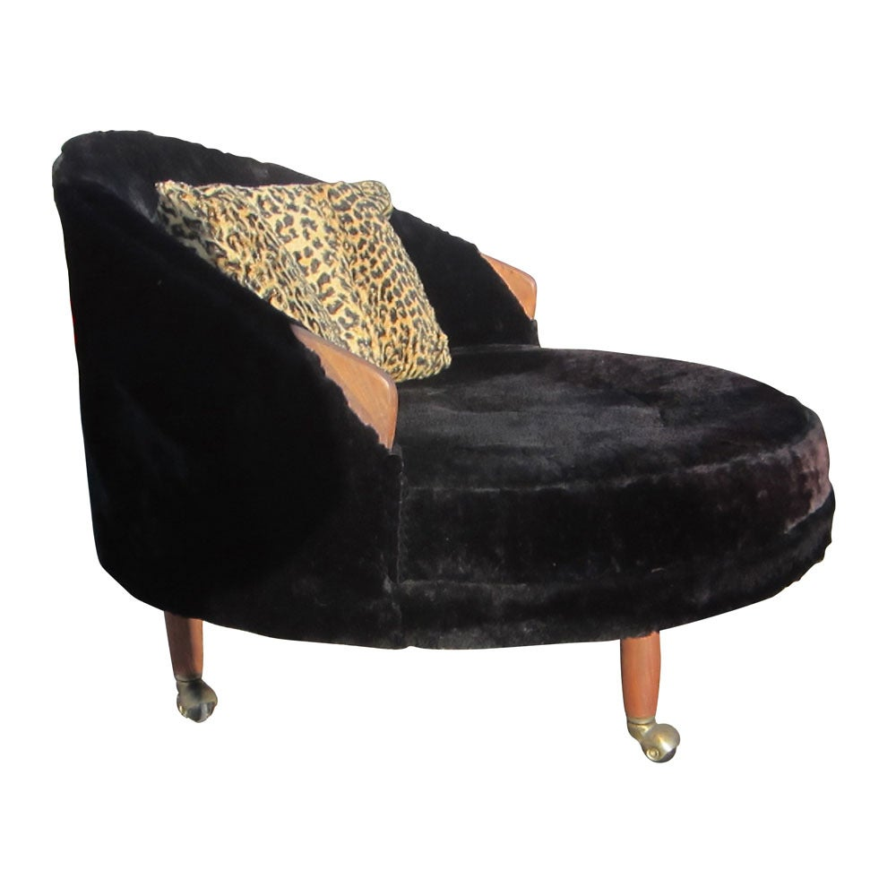 Vintage Round Lounge Chair on Casters Designed by Adrian Pearsall for Craft a