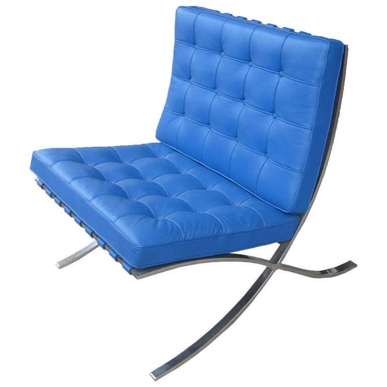 mies van der rohe for knoll blue barcelona chair at 1stdibs. Black Bedroom Furniture Sets. Home Design Ideas