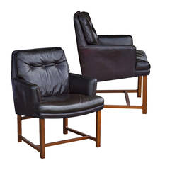 Pair of Brown Leather Dunbar Lounge Chairs