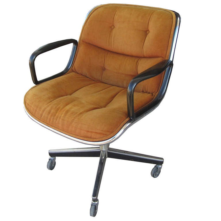 pollock for knoll tan-brown executive office chair at 1stdibs