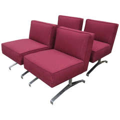 Set of Four Red-Patterned Club Lounge Chairs