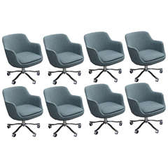Nicos Zographos Set of Eight Chairs with Gray Upholstery