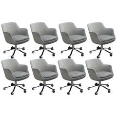 Nicos Zographos Set of Eight Bucket Chairs with Grey Circle Upholstery