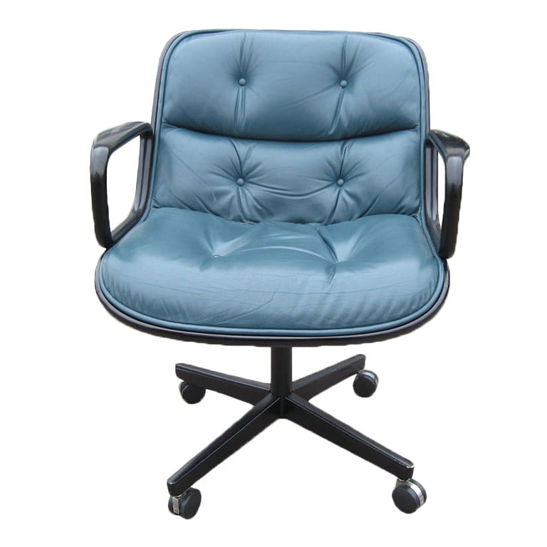 Charles Pollock For Knoll Executive Chair In Green Leather