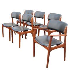 Six Vintage Danish Erik Buch Teak Chairs for Oddense Maskinsnedkeri