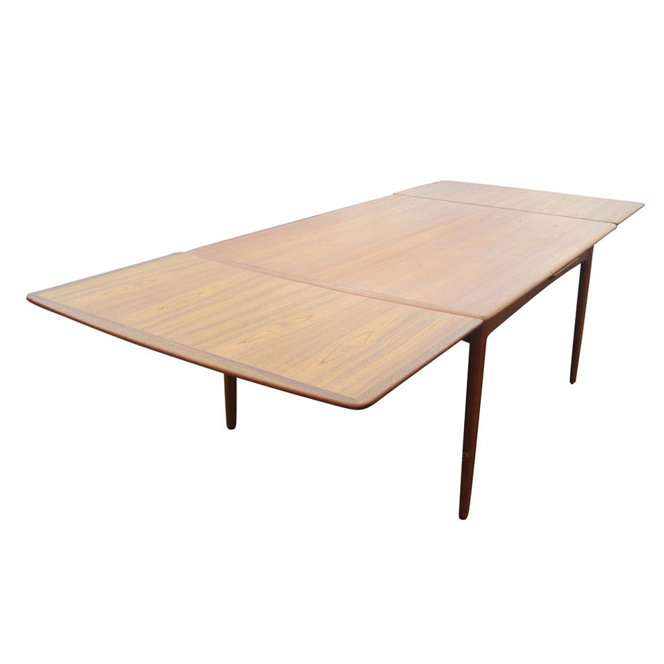 Teak extension dining table in excellent condition very clean and - Danish Teak Dining Table With Sliding Leaves Designed By Arne Vodder 1