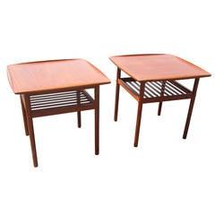 Pair of Rare Vintage Danish Teak Side Tables Designed by Grete Jalk