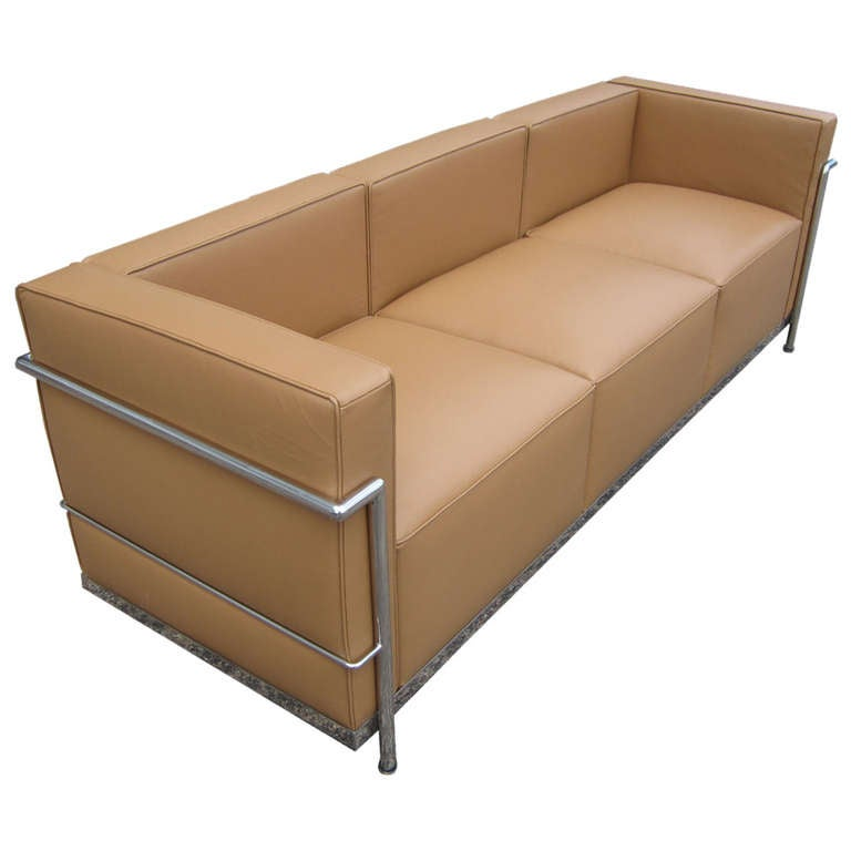 Le Corbusier Lc2 Style Tubular Chromed Steel Tan Sofa At 1stdibs