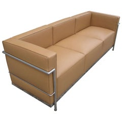 Le Corbusier LC2 Style Tubular Chromed Steel Tan Sofa
