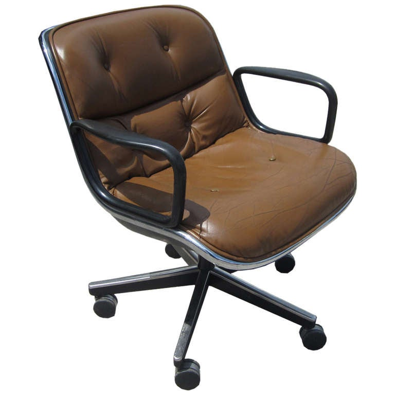 Charles Pollock For Knoll Executive Arm Chair In Dark
