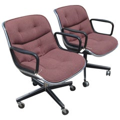 Charles Pollock for Knoll Pair of Executive Armchairs in Burgundy Fabric