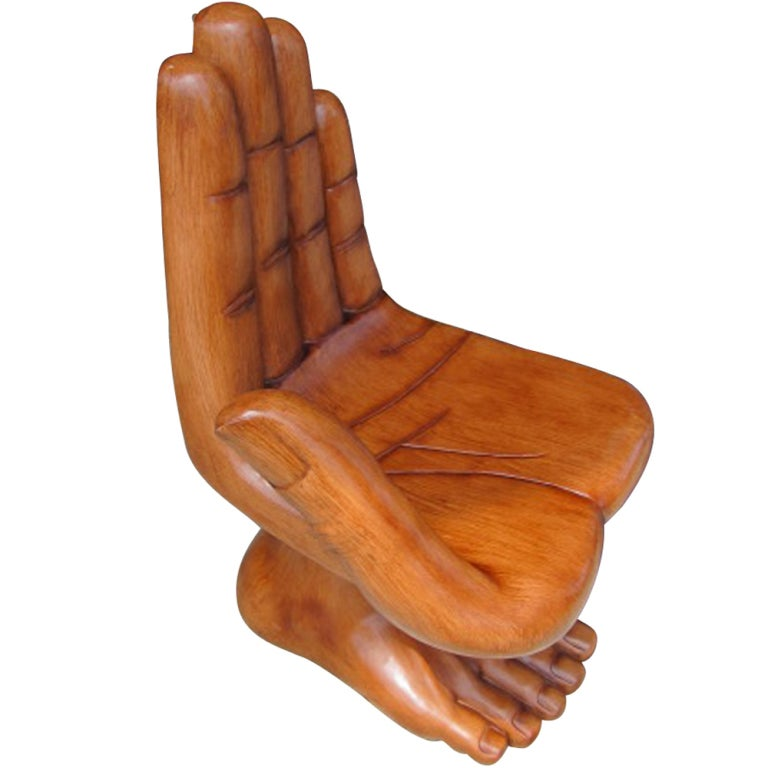 sculptural hand and foot chair in the manner of pedro